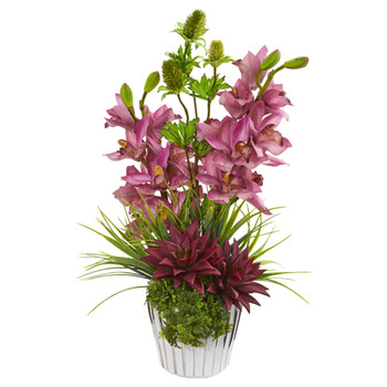 Cymbidium Orchid Agave and Thistle Artificial Arrangement - SKU #1982