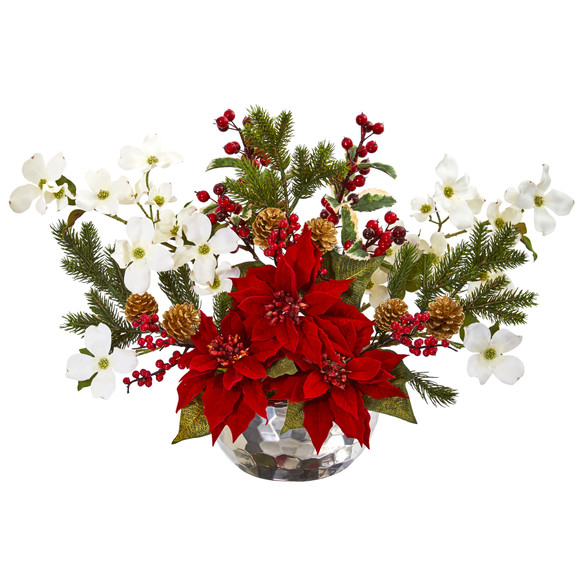 Poinsettia Dogwood Berry and Pine Artificial Arrangement in Silver Vase - SKU #1983