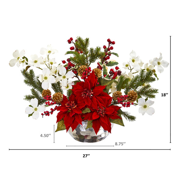 Poinsettia Dogwood Berry and Pine Artificial Arrangement in Silver Vase - SKU #1983 - 1
