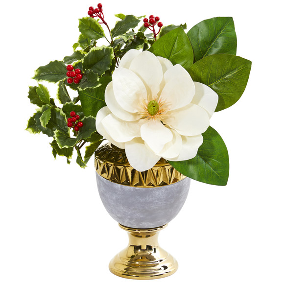 Magnolia and Holly Leaf Artificial Arrangement in Stoneware Urn - SKU #1984
