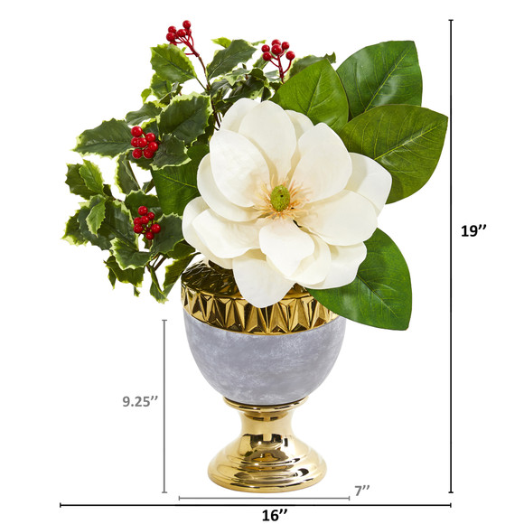 Magnolia and Holly Leaf Artificial Arrangement in Stoneware Urn - SKU #1984 - 1