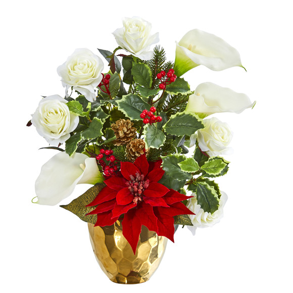 Holiday Inspired Artificial Arrangement in Gold Vase - SKU #1985