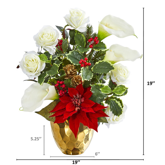 Holiday Inspired Artificial Arrangement in Gold Vase - SKU #1985 - 1