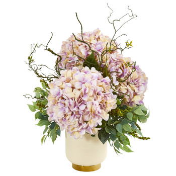 Giant Hydrangea and Mixed Greens Artificial Arrangement in White Bowl - SKU #1987-LV