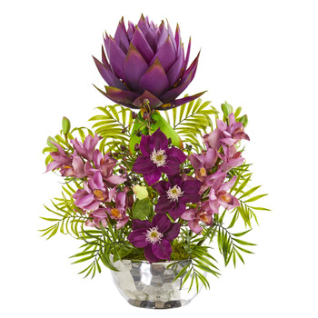 24 Cymbidium Orchid and Mixed Floral Artificial Arrangement in Silver Vase - SKU #1988