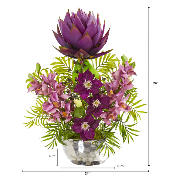 24 Cymbidium Orchid and Mixed Floral Artificial Arrangement in Silver Vase - SKU #1988 - 1