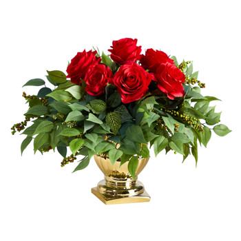 14 Rose Artificial Arrangement in Gold Urn - SKU #1989