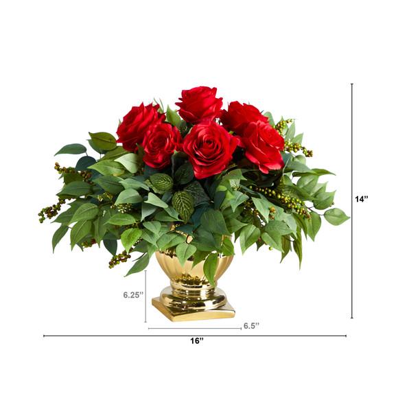 14 Rose Artificial Arrangement in Gold Urn - SKU #1989 - 1