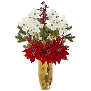 Poinsettia Dogwood Holly Berry and Pine Artificial Arrangement in Gold Vase - SKU #1991