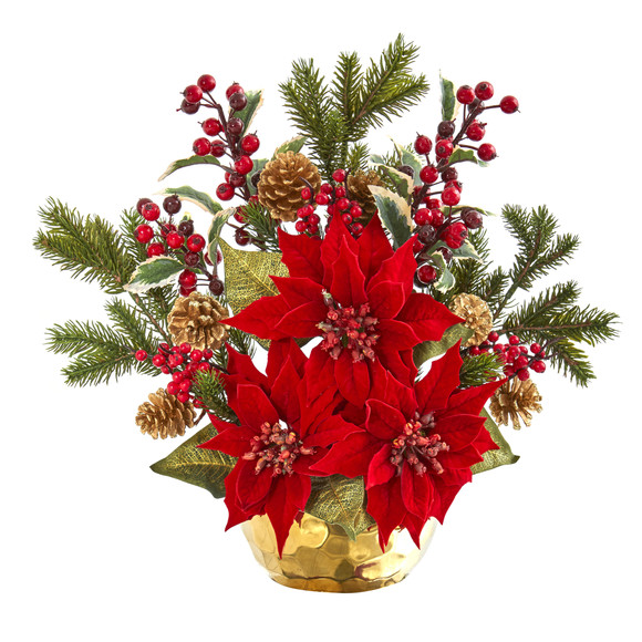 17 Poinsettia Holly Berry and Pine Artificial Arrangement - SKU #1992