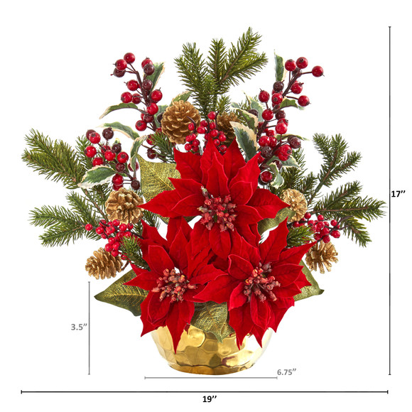 17 Poinsettia Holly Berry and Pine Artificial Arrangement - SKU #1992 - 1