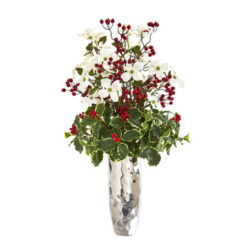 34 Dogwood and Holly Berry Artificial Arrangement in Silver Vase - SKU #1994