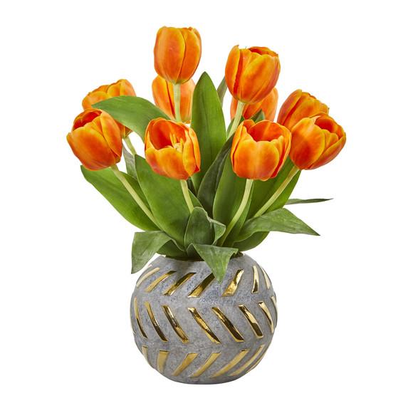 Tulip Artificial Arrangement in Decorative Vase - SKU #1997 - 6