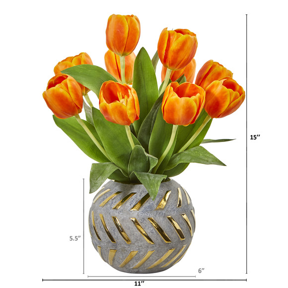 Tulip Artificial Arrangement in Decorative Vase - SKU #1997 - 7