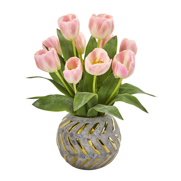 Tulip Artificial Arrangement in Decorative Vase - SKU #1997 - 2