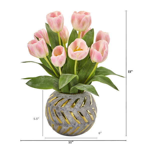 Tulip Artificial Arrangement in Decorative Vase - SKU #1997 - 3