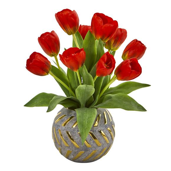 Tulip Artificial Arrangement in Decorative Vase - SKU #1997