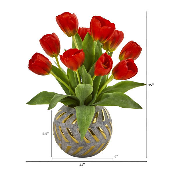 Tulip Artificial Arrangement in Decorative Vase - SKU #1997 - 1