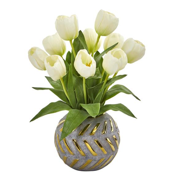 Tulip Artificial Arrangement in Decorative Vase - SKU #1997 - 4