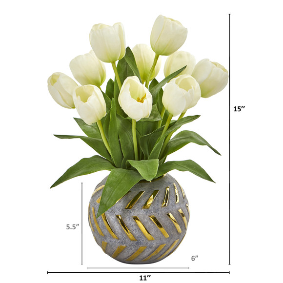 Tulip Artificial Arrangement in Decorative Vase - SKU #1997 - 5