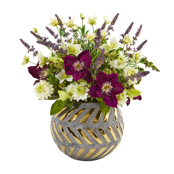 14 Mixed Artificial Flower Arrangement in Stoneware Vase with Gold Trimming - SKU #1999