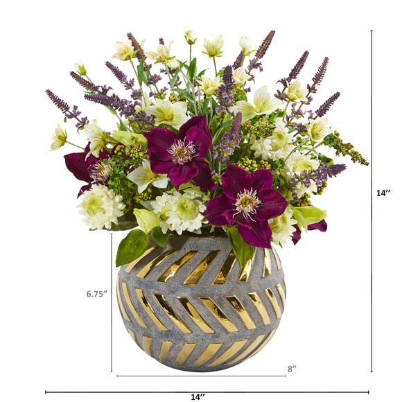 14 Mixed Artificial Flower Arrangement in Stoneware Vase with Gold Trimming - SKU #1999 - 1