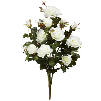 28 Garden Rose Artificial Plant Set of 2 - SKU #2163-S2-WH