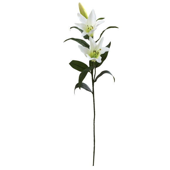 26.5 Lily Artificial Flower Set of 12 - SKU #2181-S12-WH