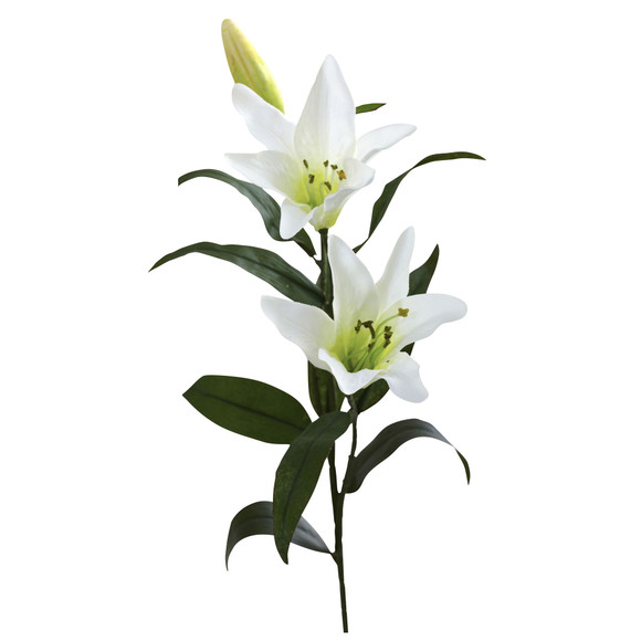 26.5 Lily Artificial Flower Set of 12 - SKU #2181-S12-WH - 1