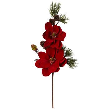 36 Magnolia and Pine Artificial Flower Set of 2 - SKU #2225-S2