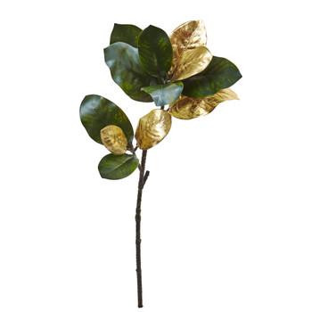 32 Golden Magnolia Leaf Artificial Stem Set of 3 - SKU #2226-S3