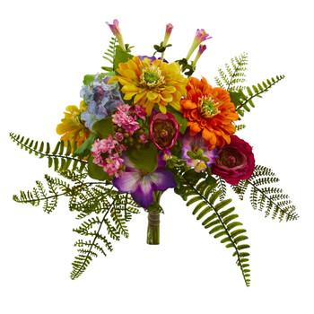 13 Mixed Flowers Artificial Bush Set of 2 - SKU #2240-S2