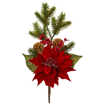 17 Poinsettia Berry and Pine Artificial Flower Bundle Set of 6 - SKU #2241-S6