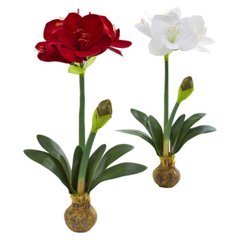 25 Amaryllis Artificial Flower Set of 2 - SKU #2243-S2