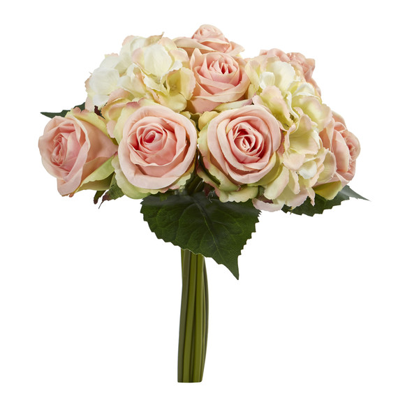 12 Rose and Hydrangea Bouquet Artificial Flower Set of 6 - SKU #2258-S6