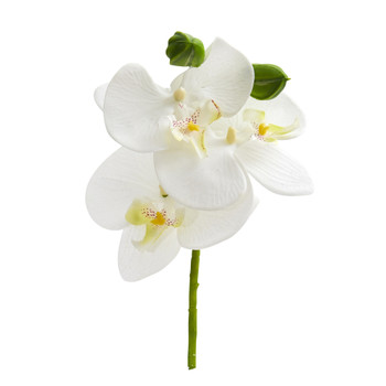 9 Phalaenopsis Orchid Artificial Flower Pick Set of 12 - SKU #2271-S12-WH