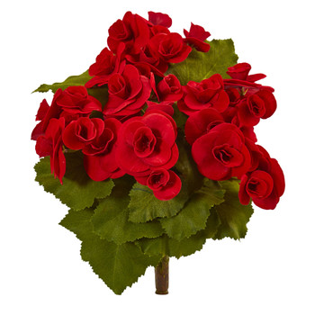 11 Begonia Bush Artificial Flower Set of 4 - SKU #2286-S4-RD