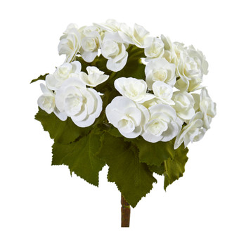 11 Begonia Bush Artificial Flower Set of 4 - SKU #2286-S4-WH