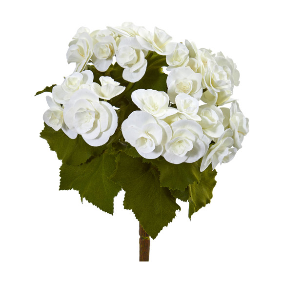 11 Begonia Bush Artificial Flower Set of 4 - SKU #2286-S4 - 1