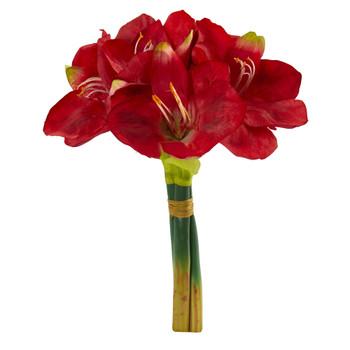 14 Amaryllis Bouquet Artificial Flower Set of 3 - SKU #2288-S3