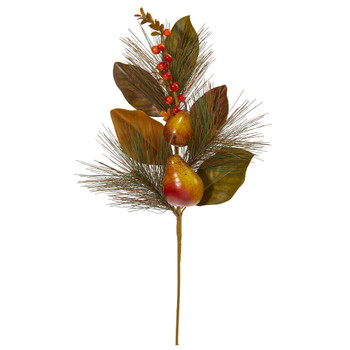 24 Pear Pine and Magnolia Leaf Artificial Flower Set of 6 - SKU #2346-S6