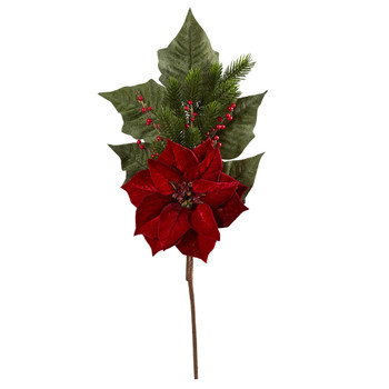 31 Poinsettia Berries and Pine Artificial Flower Bundle Set of 3 - SKU #2367-S3-RD