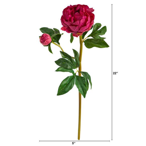22 Peony Artificial Flower Set of 3 - SKU #2381-S3 - 4