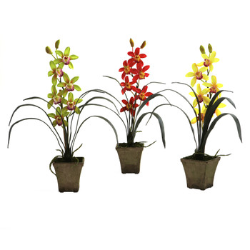 Cymbidium Orchid w/Vase Set of 3 - SKU #4066-AS-S3