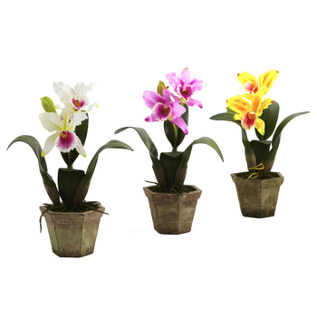 Cattelya Orchid w/Vase Set of 3 - SKU #4067-AS-S3