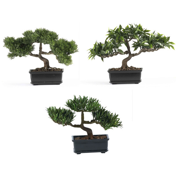 12 Bonsai Silk Plant Collection Set of 3 - SKU #4121