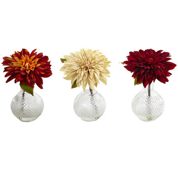 Dahlia w/Decorative Vase Set of 3 - SKU #4130-S3