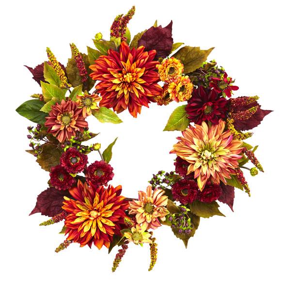 22 Dahlia Mum Wreath - SKU #4131