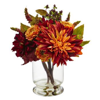 Dahlia Mum w/Vase Arrangement - SKU #4132
