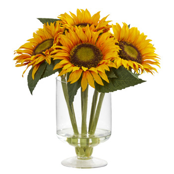12 Sunflower Artificial Arrangement in Vase - SKU #4140